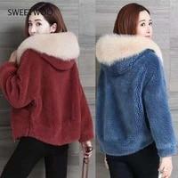 women faux fur coat imitation fox plush jacket 2021 winter fashion casual jacket women short womens clothing winter coat