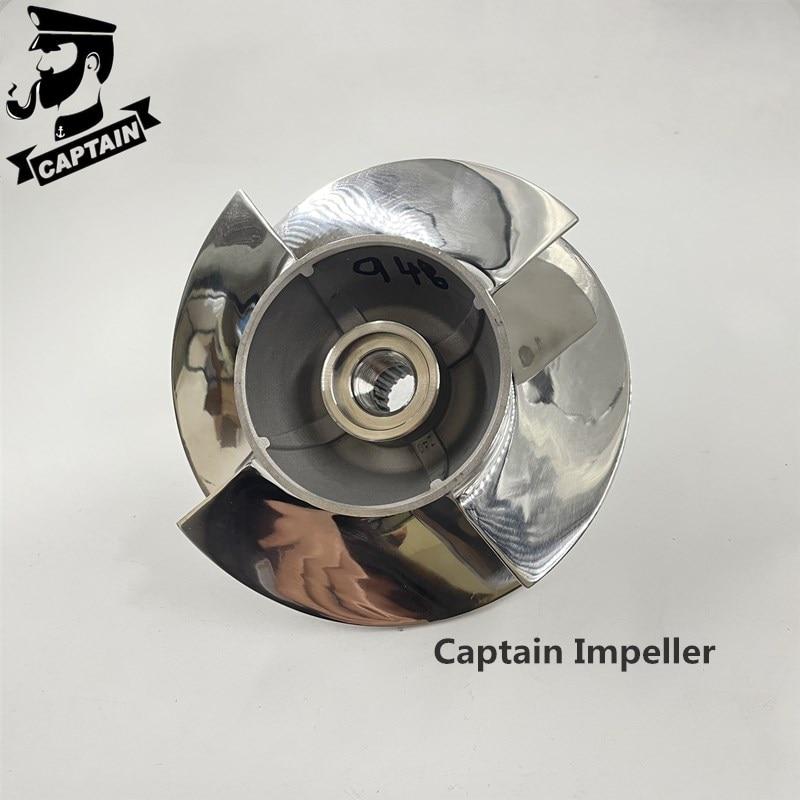 Captain Jet Ski Parts Impeller 267000948 Fit Seadoo Spark Ace 900/ Spark Ace 900 Ho/ Spark PARK Trixx 140mm 4 Blades Polished enlarge