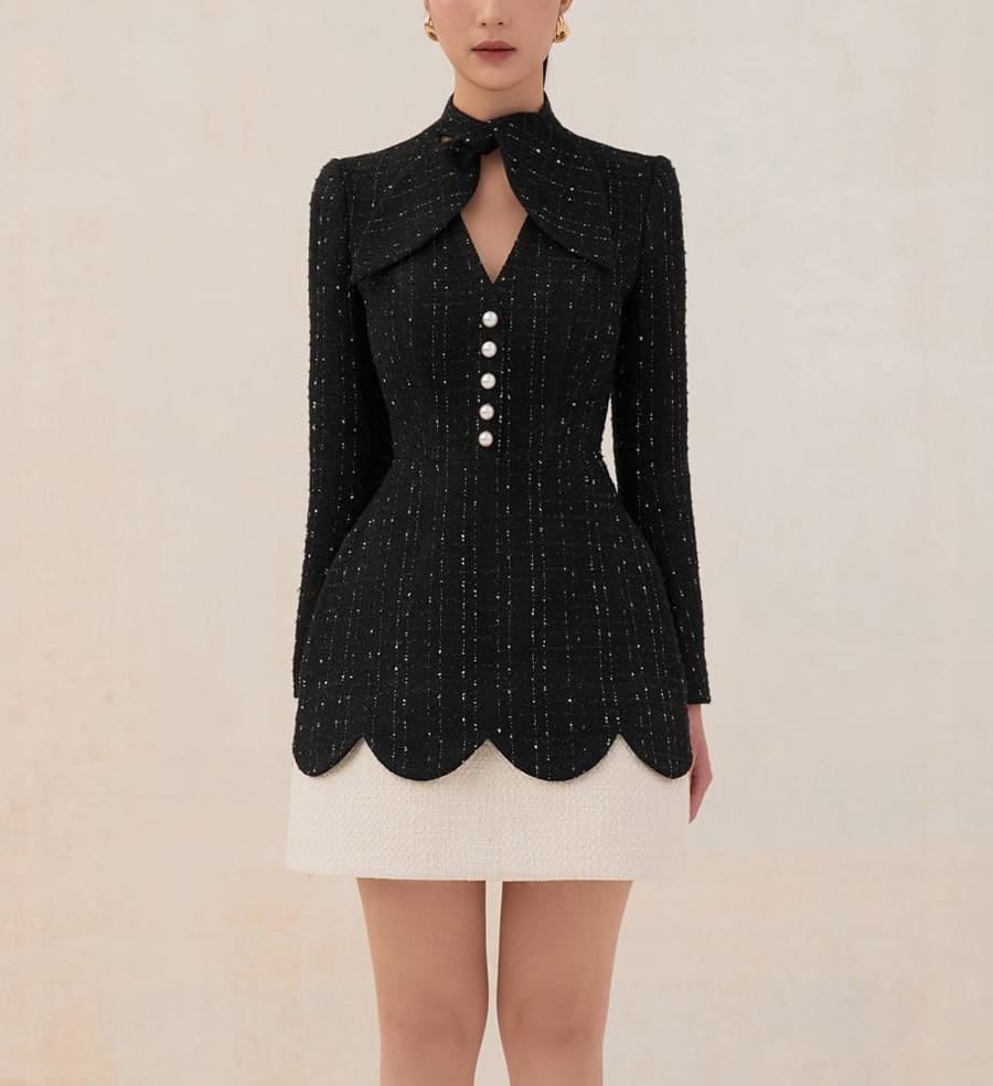 платье bezko bezko mp002xw18tnc Черное платье tailor shop, женское легкое роскошное платье, полуформальное платье, платье принцессы, черное белое твидовое платье