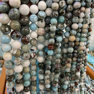 6-12mm Natural Blue Larimar Beads 15'' Round Spacer DIY Loose Stone Beads For Jewelry Making Beads DIY Accessories Bracelets