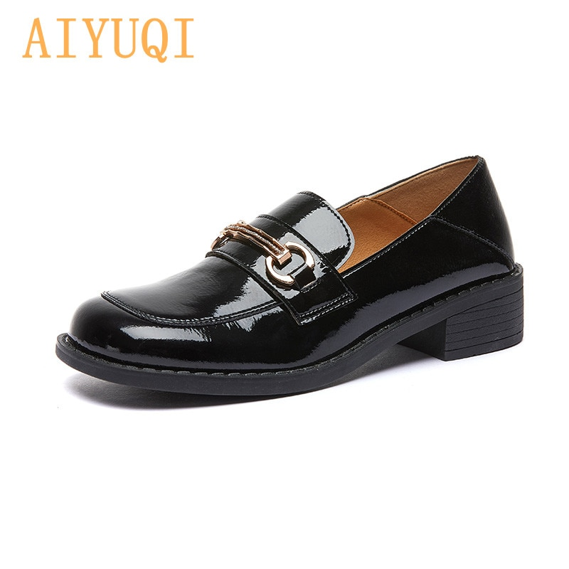 Loafer Shoes Women Genuine Leather 2021 Spring New British Fashion Square Toe Girl Shoes Thick Heel