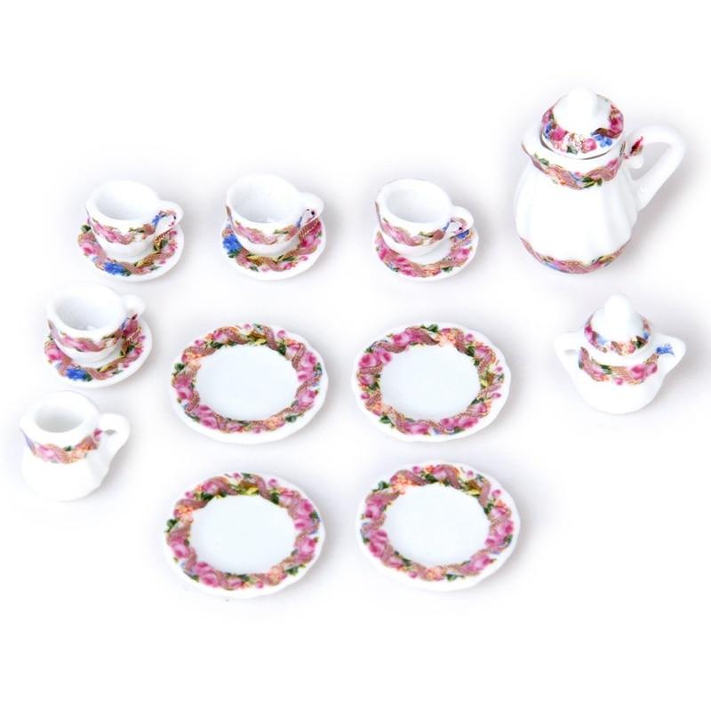 15 Uds. De muñeca casa miniatura, juego de té de porcelana plato + taza + Placa de impresión Floral colorido