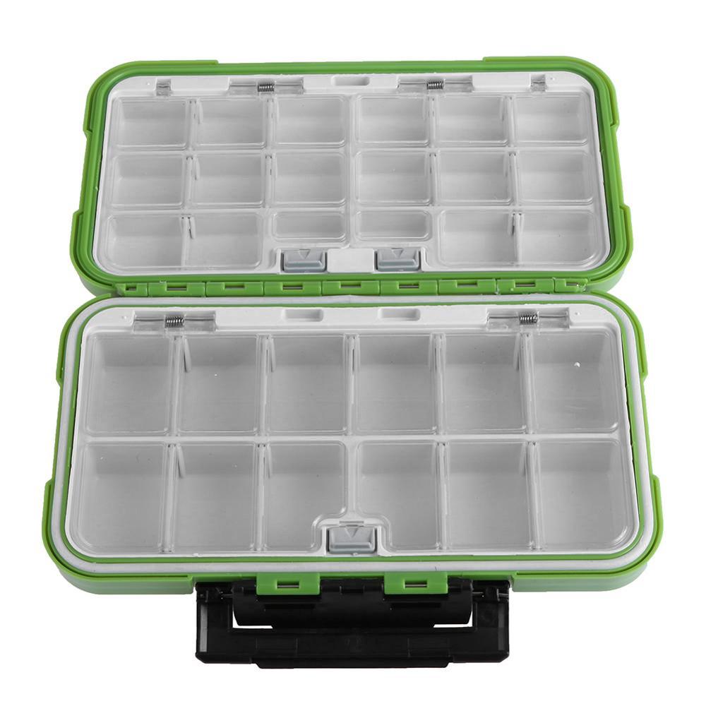 Doble capa de cajas de plástico 30 compartimentos de almacenamiento caso impermeable volar carpa Pesca de accesorios