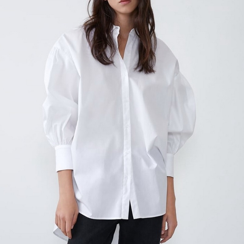 Stylish Women Long Shirt Spring 2021 New Fashion White and Black Blouse Modern Lady Loose Sleeve Shirts