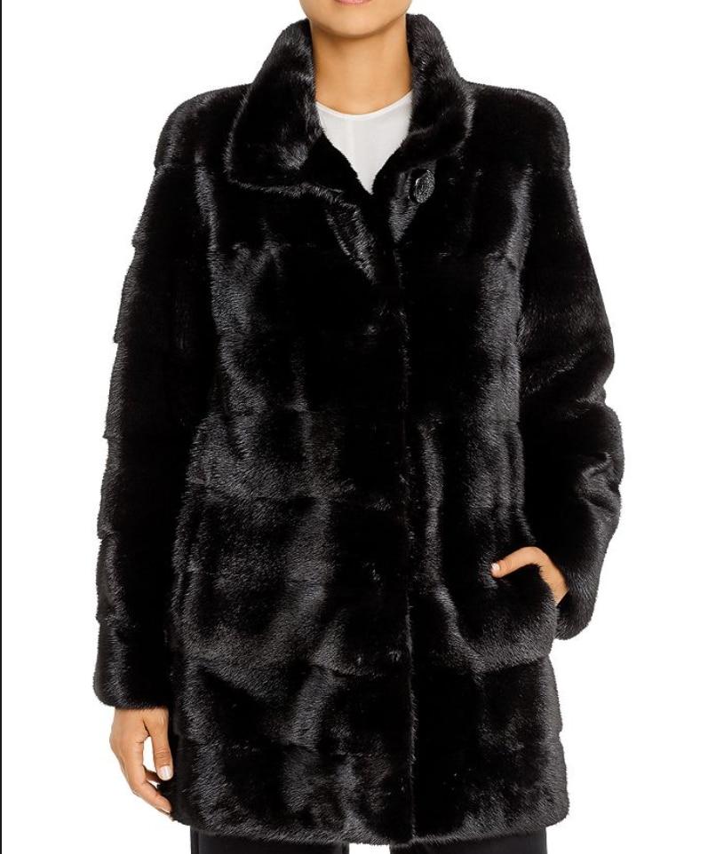 معطف فرو منك شتاء حقيقي ، معطف فرو منك جديد للسيدات ، قابل للفصل ، ثلاثة في واحد