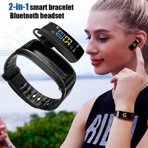 Image 1 - Многофункциональный Умный Браслет 2 в 1 с Bluetooth наушниками вкладышами, монитором сердечного ритма, водонепроницаемыми часами для занятий спортом на открытом воздухе и сна