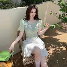 Ddiamante Buckle Bowknot Sweet Knitted Top + High Waist Ruffles Short Skirt Women's Summer Pure Suit