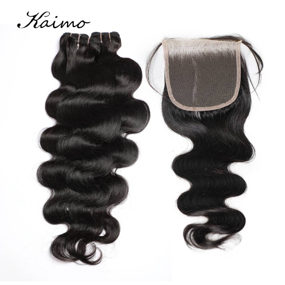 Body Wave Human Hair Bundles With Lace Closure 4x4 for Black Women Brazilian Wavy Hair Extensions Non Remy Hair 4/5 Pcs
