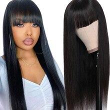 Perruque brésilienne non-remy à franges-Dorisy   Perruques de cheveux naturels lisses pour femmes noires