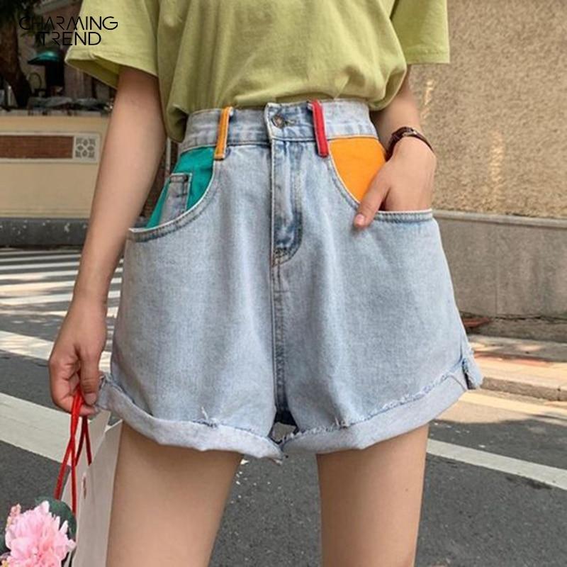 Summer Color Shorts Women Short Pant Splice Flavor Retro Ladies Jean Shorts Ragged Side Wide Leg Trend Denim Women Shorts Jean