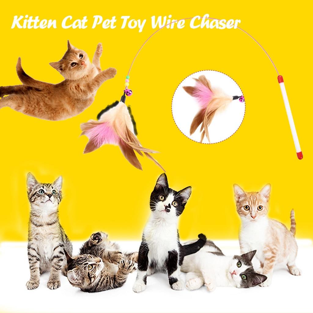 Divertido gato pluma colgante bell stick juguete de alambre cazador divertido gato pluma colgante Bell Wand Teaser Rod jugar mascota juego juguetes # nuevo