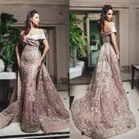 pink chic prom dresses off shoulder appliqued lace ruched tulle chic evening dresses with detachable train custom made formal pa