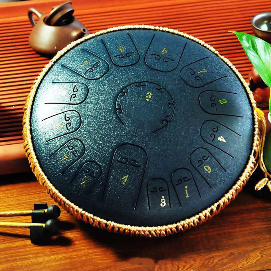 Carbon Steel Tongue Drum 15 Tune 14 Inch Tank Drum, Percussion Handpan Drum for Yoga Meditation Entertainment Musical Education enlarge