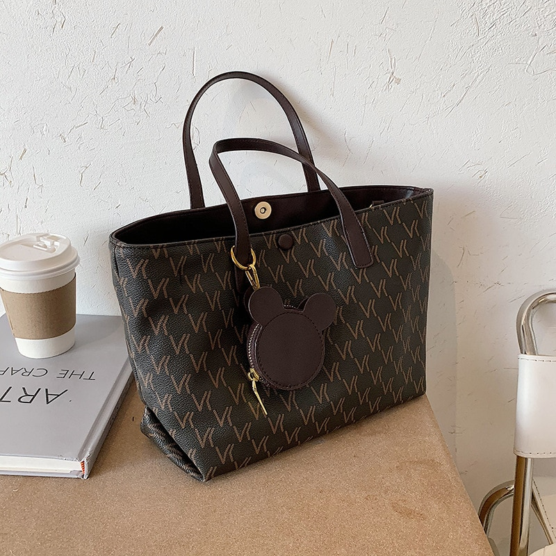 2021 New Fashion Soft Leather Letter Printing High-Quality Large-Capacity Women Net Foreign Style Shoulder All-Match Tote Bag