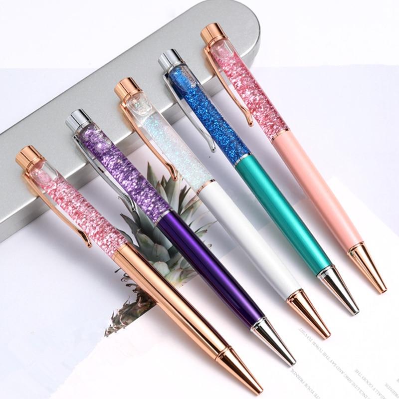Color 1 Uds Flash de cristal Gel pluma colgante de Metal bala 1,0mm papelería bolígrafo para la escuela y la Oficina bolígrafo de tinta negro