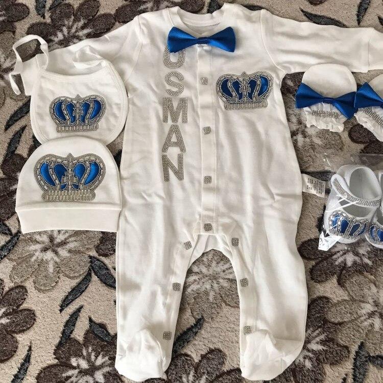 Купить с кэшбэком 0-3 Month Baby Girl Clothes Custom Name Infant Baby Bodysuits Clothing Set Newborn Baby Clothes rhinestone crown Pajama Jumpsuit