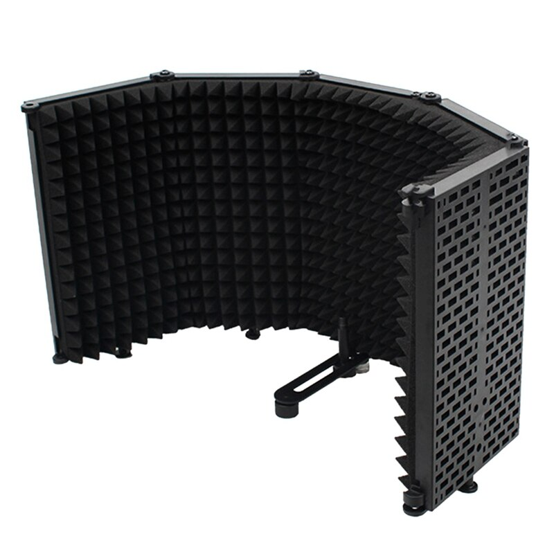 Microphone Wind Screen, Five-Door Soundproof Cover, Sound-Absorbing Blowout Prevention Net, Noise Reduction Board
