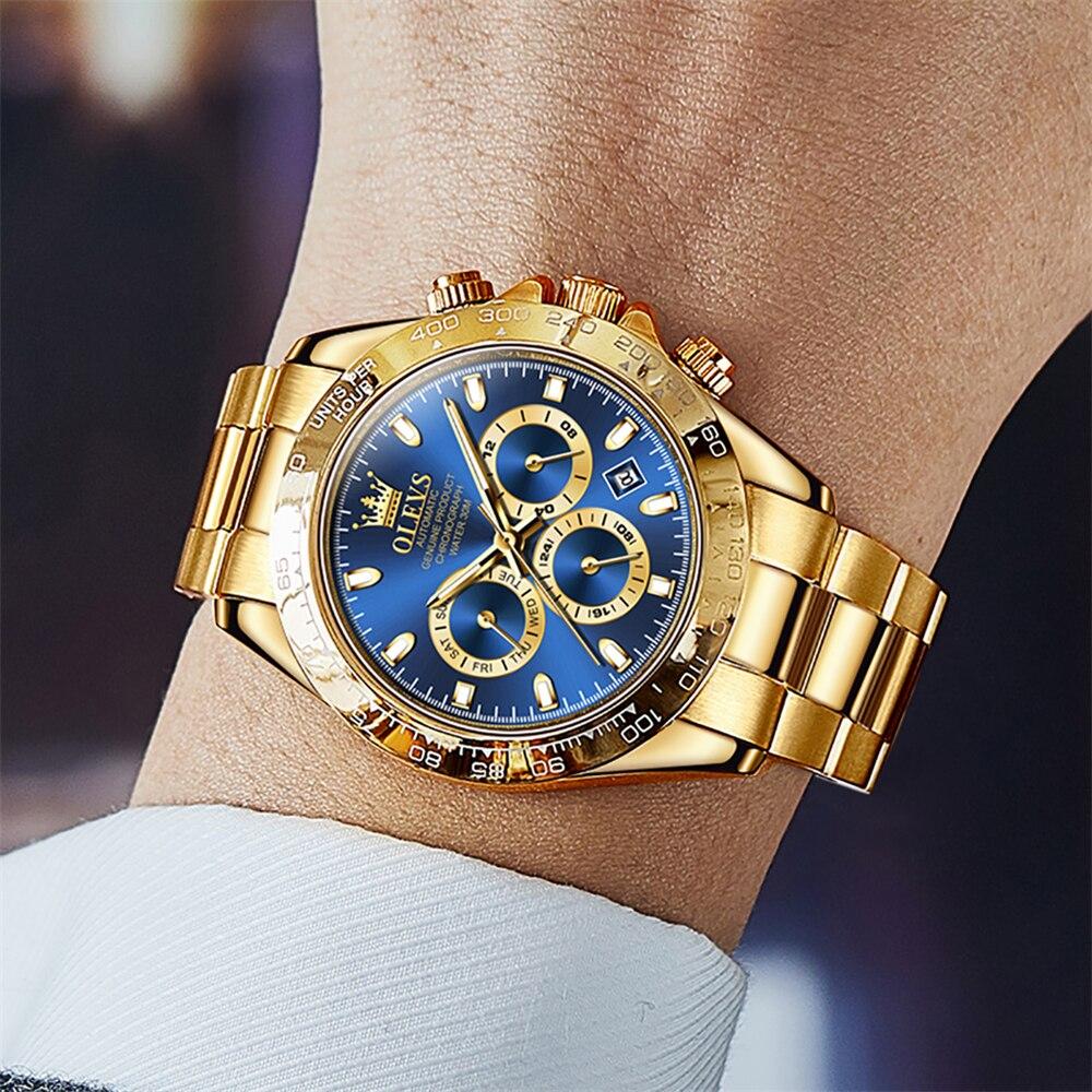 Top Brand Luxury Gold Watch Men Fashion Waterproof Pilot Watches Stainless Steel Multifunction Origi