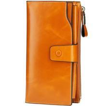 Women's RFID Blocking Large Capacity Luxury Wax Genuine Leather Clutch Wallet Card Holder Organizer