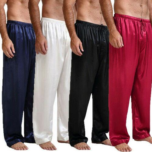 Hot Mens Silk Satin Pajamas Nightwear Sleepwear Pyjamas Pants Sleep Bottoms Trousers