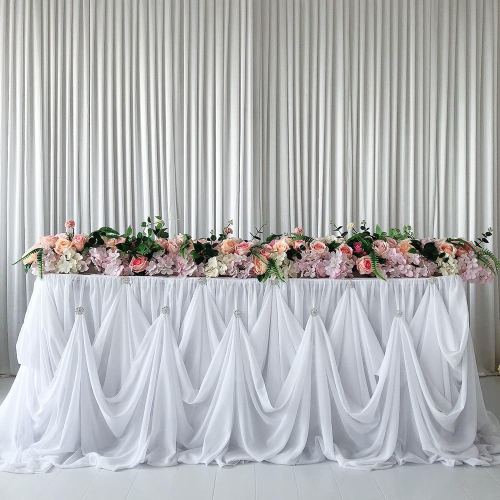 2 piezas/10 pies L * 30 pulgadas H nuevo diseño de mesa de gasa con broche de diamantes de lujo para boda decoración