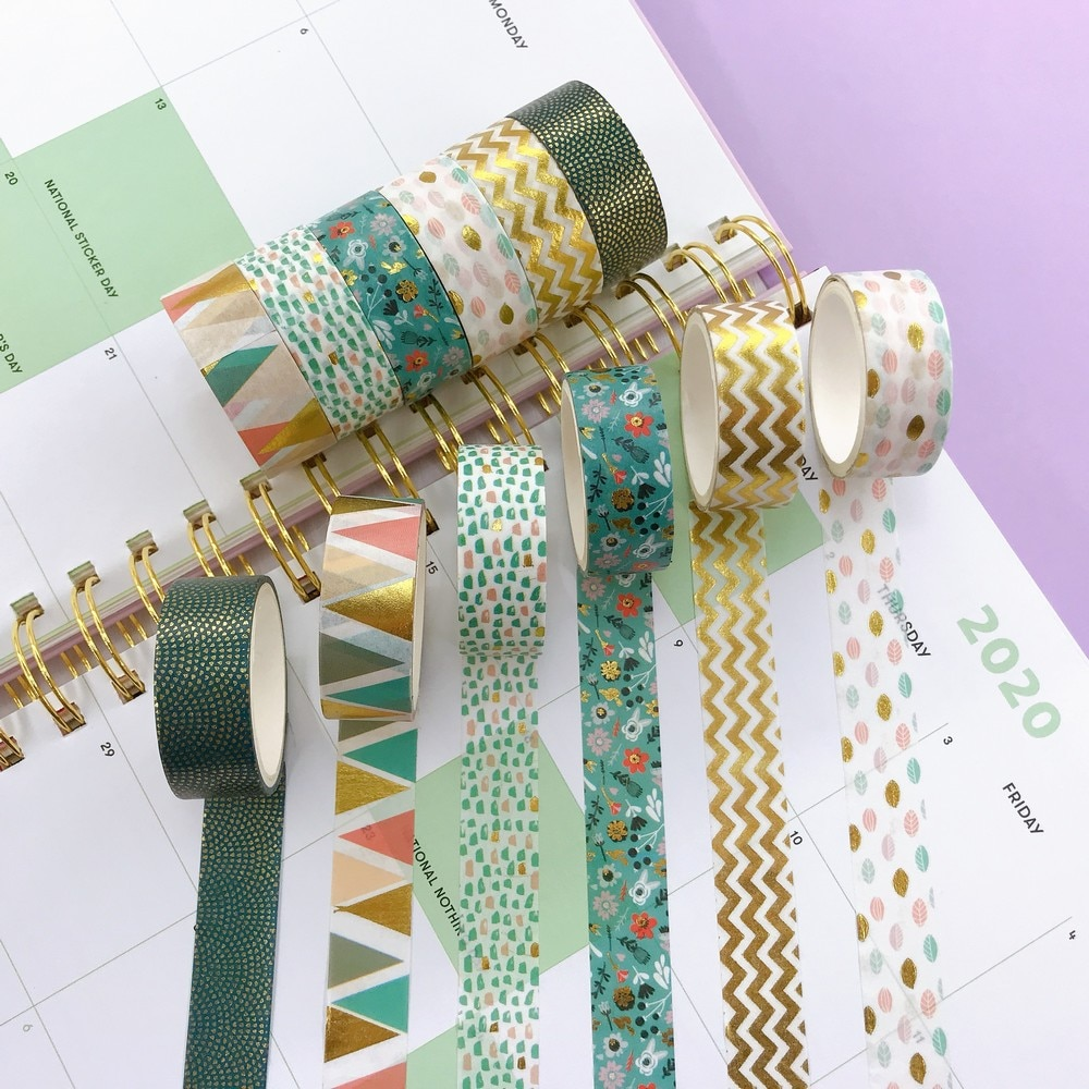 6 Stks/set Folie Washi Tape 15Mm * 2M Kleurrijke Scrapbooking Leuke Adhesiva Deco Japanse Briefpapier Afplakband