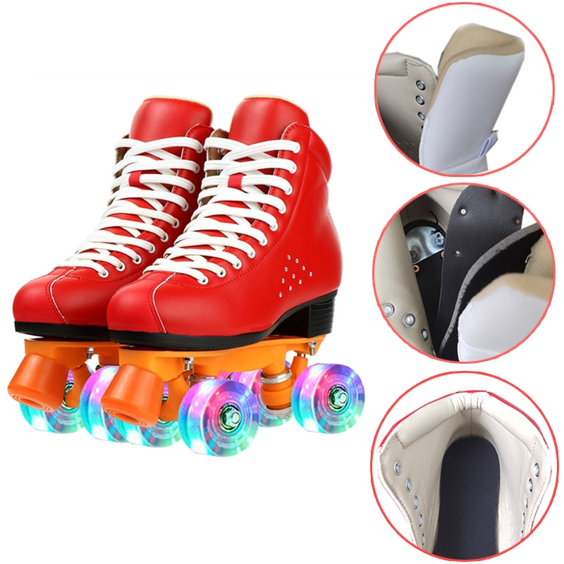 Женские мигающие роликовые коньки 2021, 4-колесные роликовые коньки, обувь для катания на четырех колесах, кроссовки для взрослых, для улицы, с...