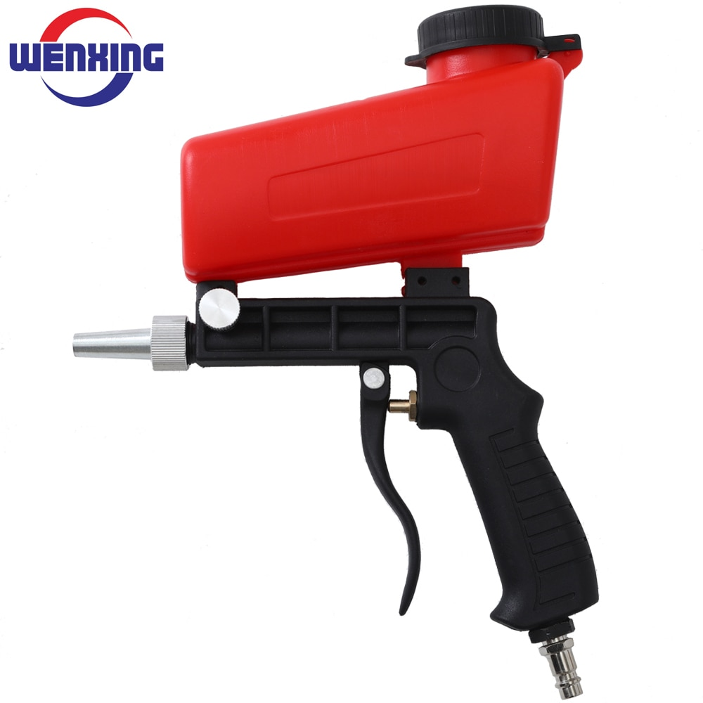Pistola de chorro de arena por gravedad portátil de 90 psi herramienta neumática pistola de chorro de arena pequeña, chorro de arena ajustable