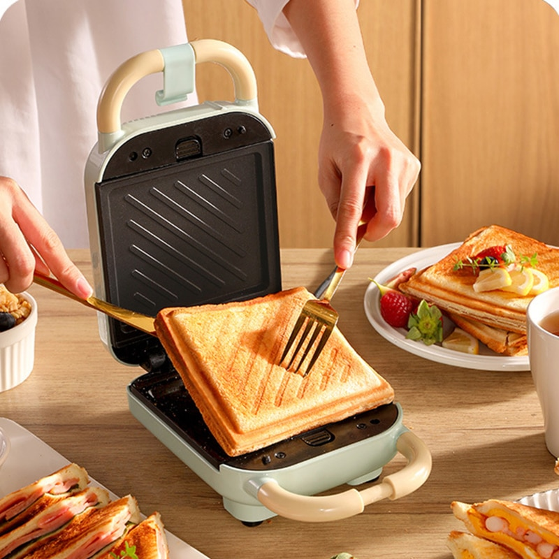 Sandwichera eléctrica de 220V para cocina, máquina para hacer waffles, tostadora, luz...