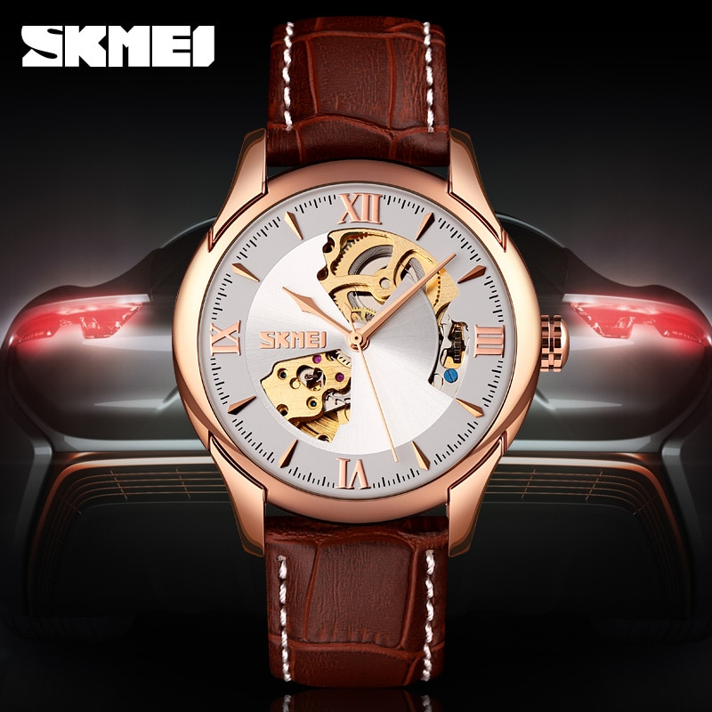Fashion Hollow Mechanical Wristwatches Top Brand SKMEI Watches Mens Watch Luxury Automatic Watch Men Business Leather Strap New