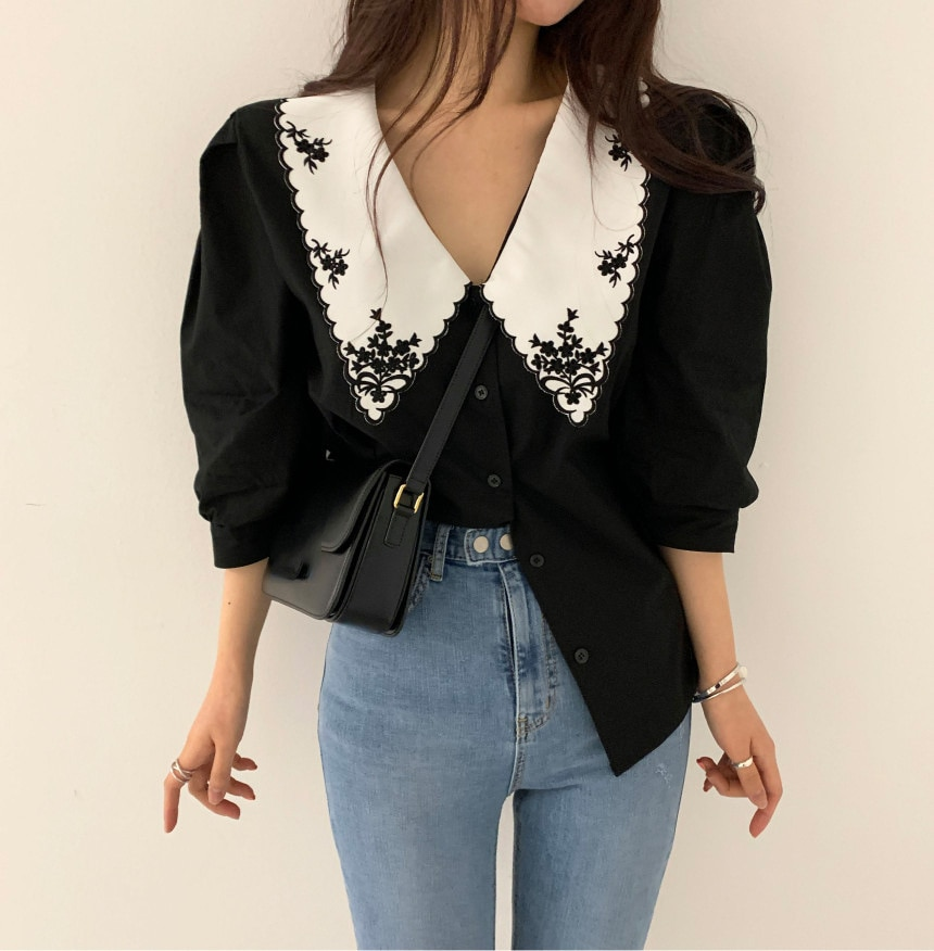 Korean Chic Retro Design Lapel Plus Size Blusas Women Casual Heavy Embroidery Hit Color Single-breasted Loose Puff Sleeve Shirt