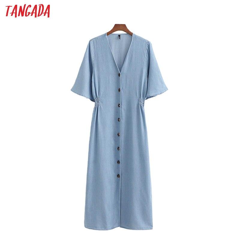 Женское джинсовое платье-туника Tangada, синее винтажное платье миди с v-образным вырезом и коротким рукавом, модель 1D200 на лето