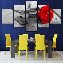 الفن HD الجدار ملصق مطبوعة ديكور ل غرفة المعيشة المنزلي الحديثة 5 قطع الأحمر روز زهرة قماش صور وحدات إطار اللوحة