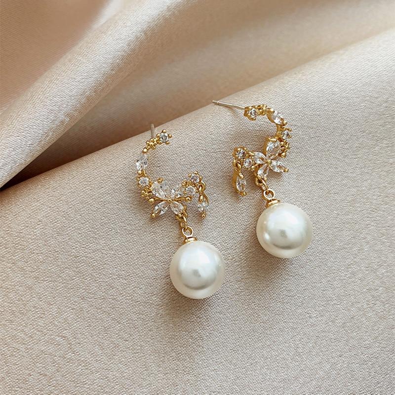 Zeojrlly Kristall Trendy Runde Frauen Baumeln Ohrringe 2020 Neue Ankunft Weibliche Mode Elegant Perle Ohrringe Schmuck Für Frauen