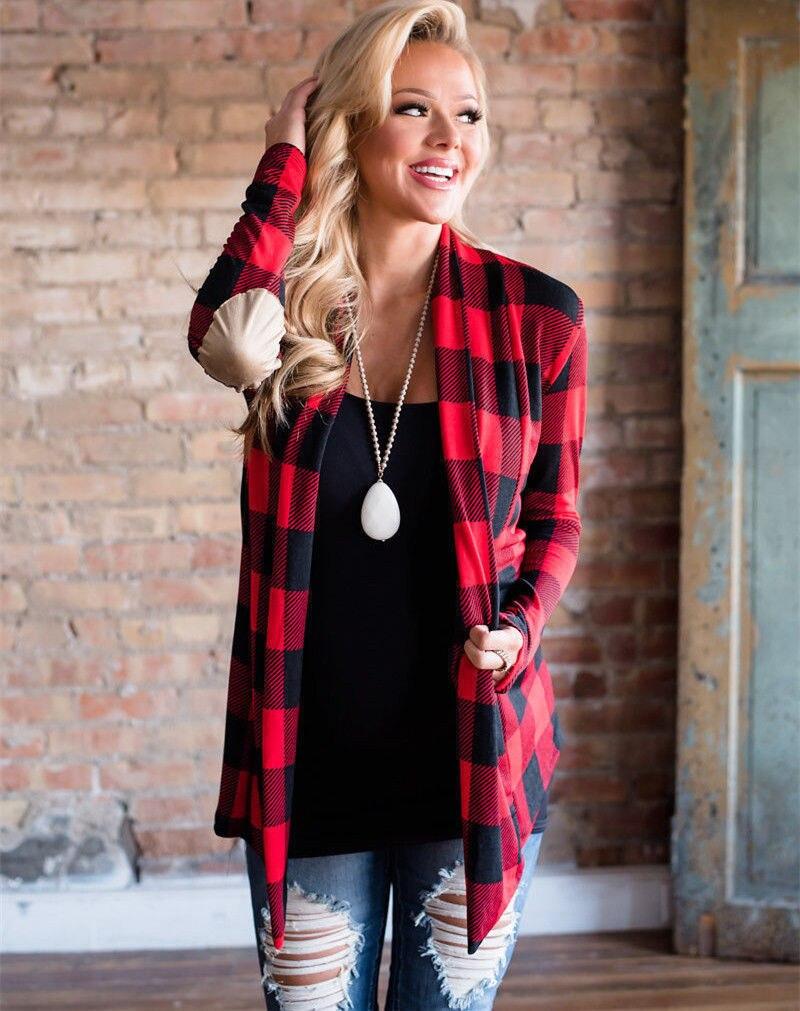 Outono feminino vermelho xadrez cardigans manga longa cotovelo remendo drapeado camisa frontal aberta blusa