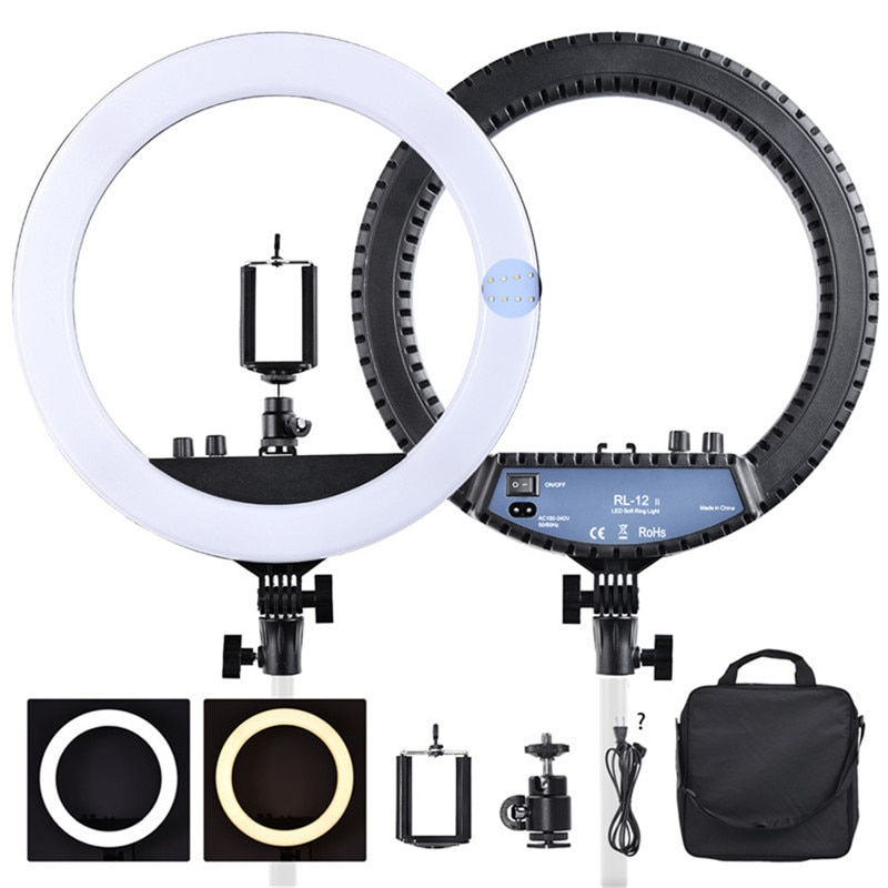 falcon eyes 216 bi color led video light lamp dimmable for illuminating photographing or filming for canon nikon camera dv 216vc fosoto RL-12II 14 Dimmable Photography light Led Ring Light Bi-color 3200-5600K 240 led Ring Lamp For Camera Photo Studio Phone