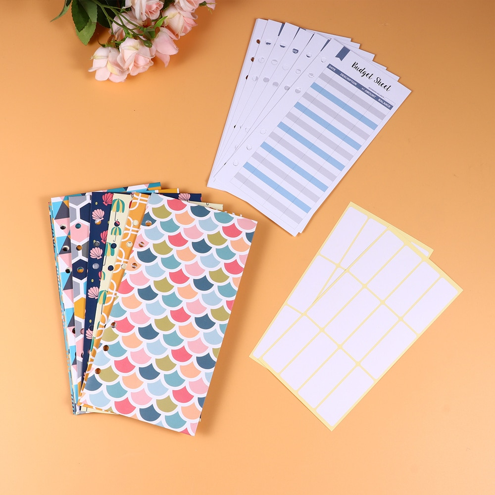 26pcs Budget Envelopes Set Creative 6 Holes Cash Envelopes with Budget Sheets and Label Stickers Coupon Organizer Wallet