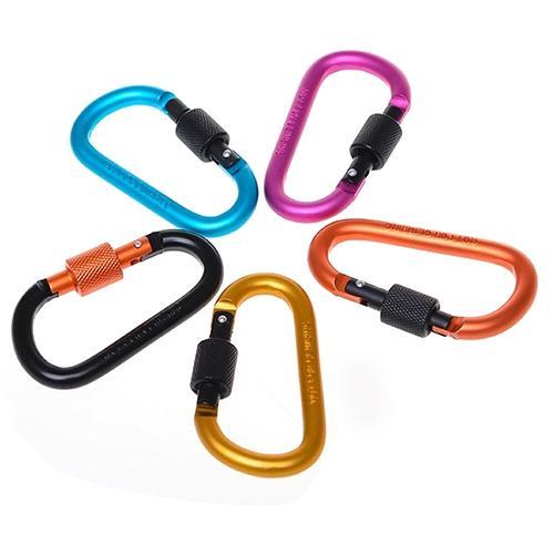 1 ud. Mosquetón de aluminio d-ring resorte exterior Clip colgadores para llaves Clip de cadena mosquetón llavero de Camping