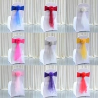 1pcs organza wedding chair flower knot bow elastic sashes tie wedding chair decorations belt band cover banquet hotel home decor