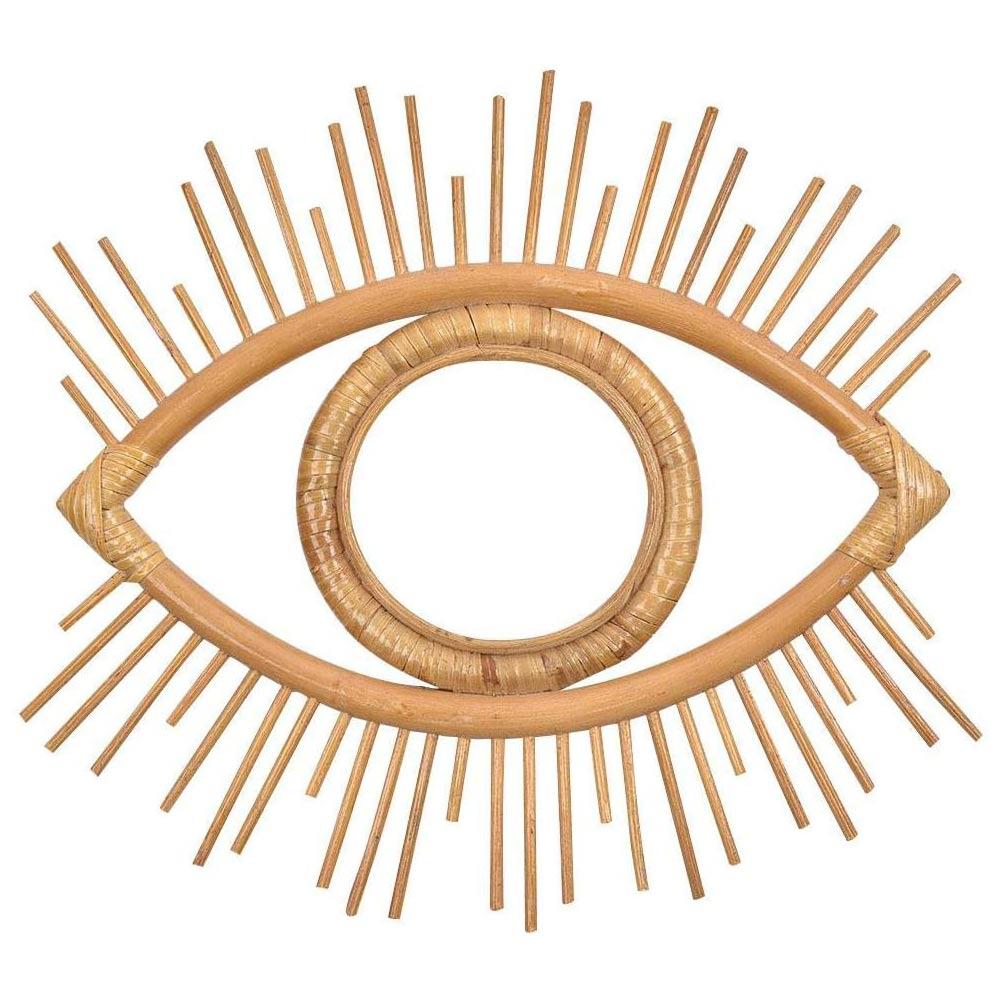 Espelho de Parede Decoração da Parede Pingente para Apartamento Natural Rattan Decorativo Bela Olho Arte Decoração Sala Estar Quarto