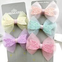 5pcslot kawaii lace and glitter hair bows with clip for girls colorful hair clips hairpins barrettes kids hair accessories