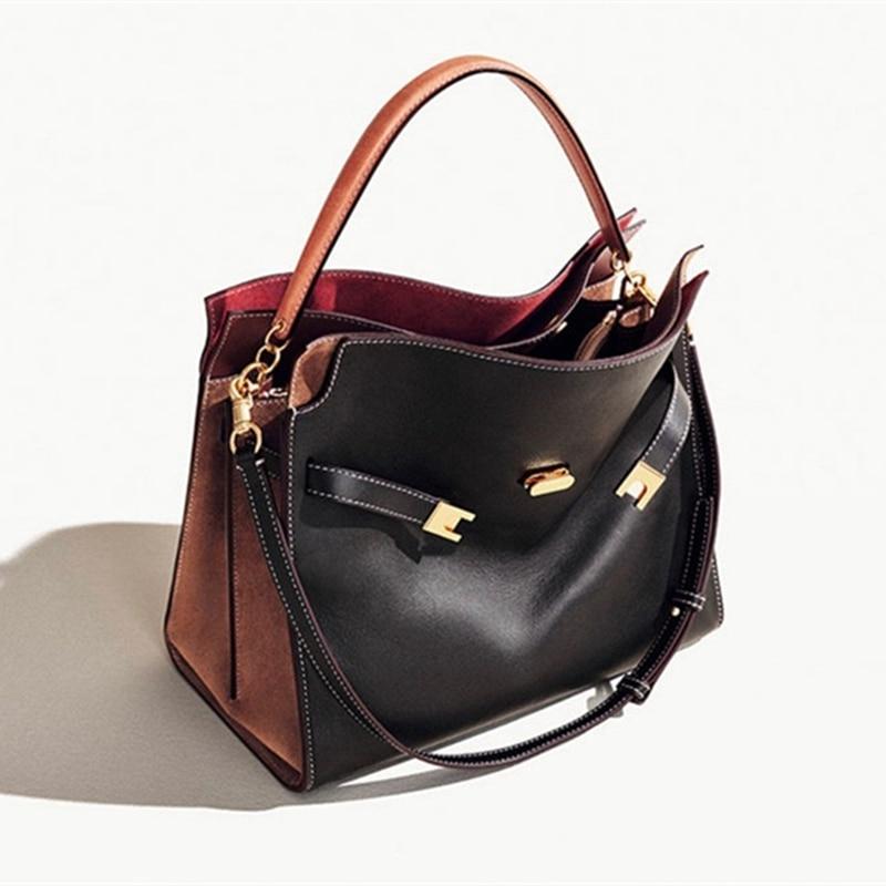 حقائب يد جلدية أصلية للنساء ، حقيبة حمل فاخرة ، حقيبة كتف تحمل علامة تجارية ، حقيبة كتف للسيدات
