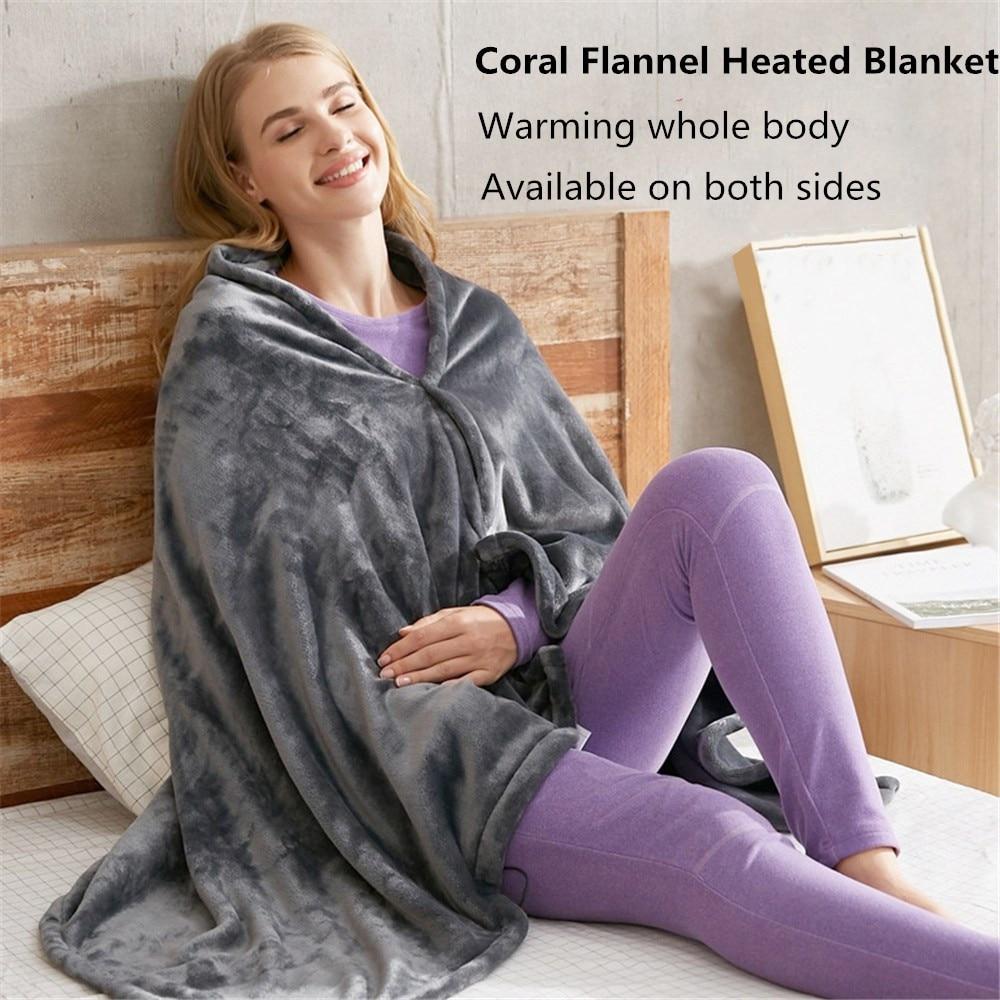 شال تدفئة Usb ، بطانية قطيفة للتدفئة الكهربائية ، رأس ساخن ، رفرف ساخن ، صوف مرجاني