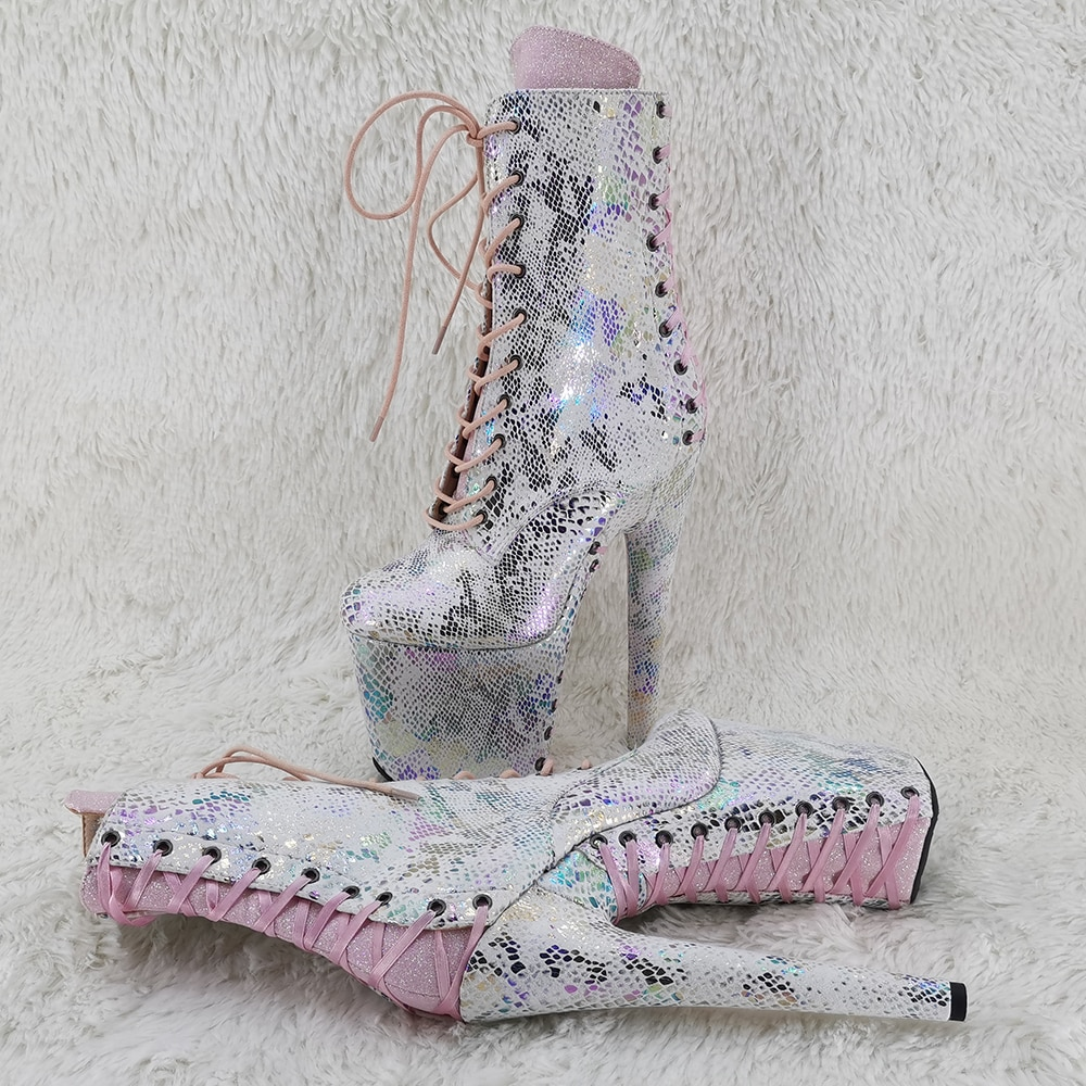 Leecabe  20CM/8inches ankle boots glitter and lace up upper  fashion for  lady party  High Heel platform Pole Dance boot