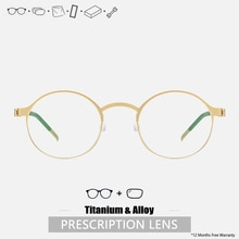 Round Glasses Men Prescription Glasses Titanium Men Optical Prescription Screwless Glasses Custom Pr