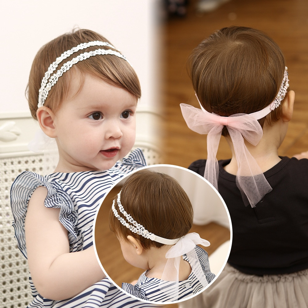 Lace Elastic Headband For Baby Girl Bows Accessories Cute Princess Hair Gift