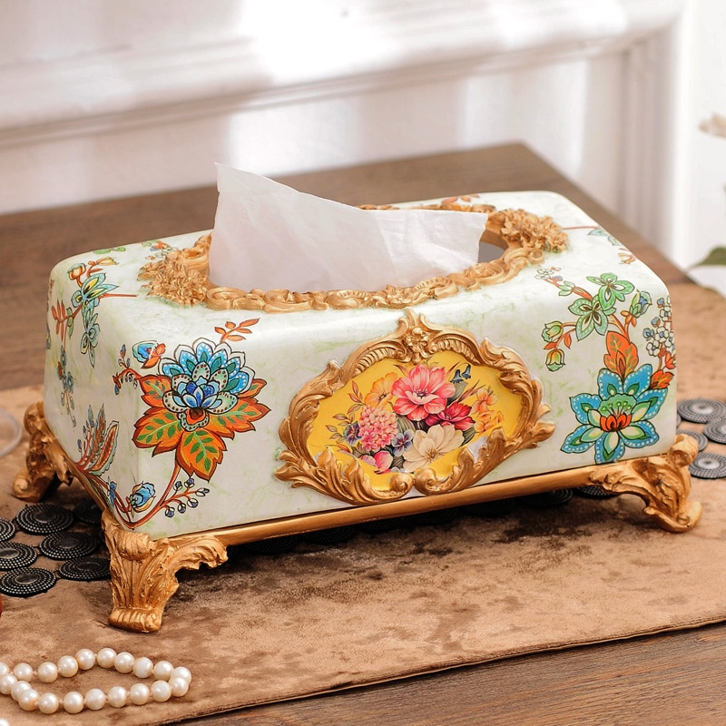 Europese Stijl Tissue Doos Luxe Woninginrichting Hars Servet Doos Creatieve Tray Kerst Decoratie Zetel Roll Type Opslag Pap