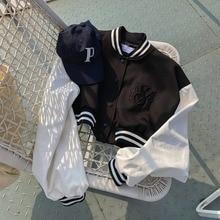 Ppshd Spring Korean Age-Reducing Retro Sleeve Stitching Contrast Color Sweatshirt Baseball Uniform J