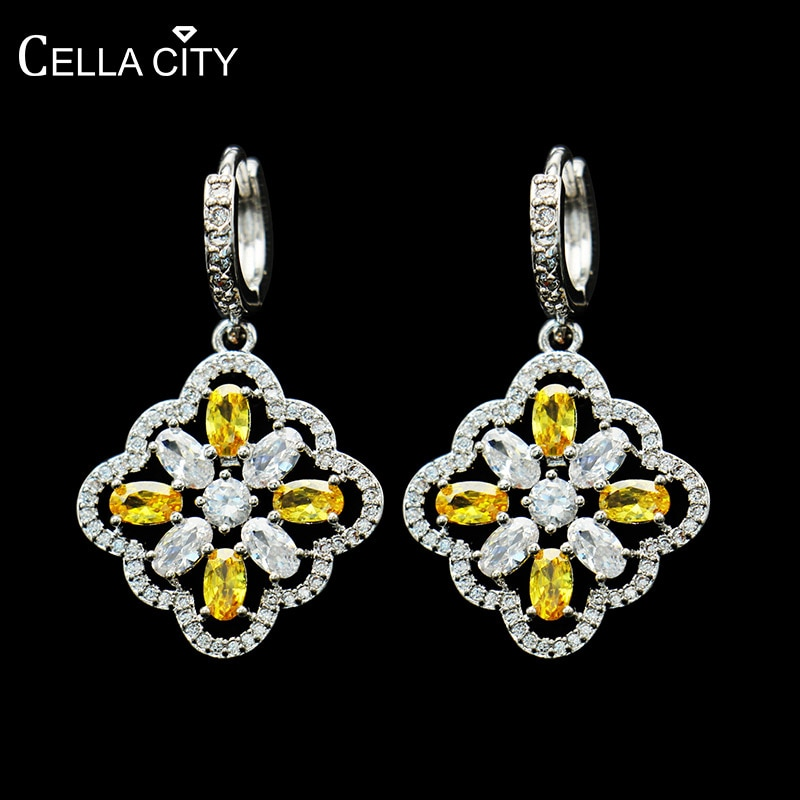 Pendientes Cellacity de plata con forma de flor geométricos 925 para mujer, joyería fina con piedras preciosas, circonitas AAA, pendientes femeninos para fiesta, Gif