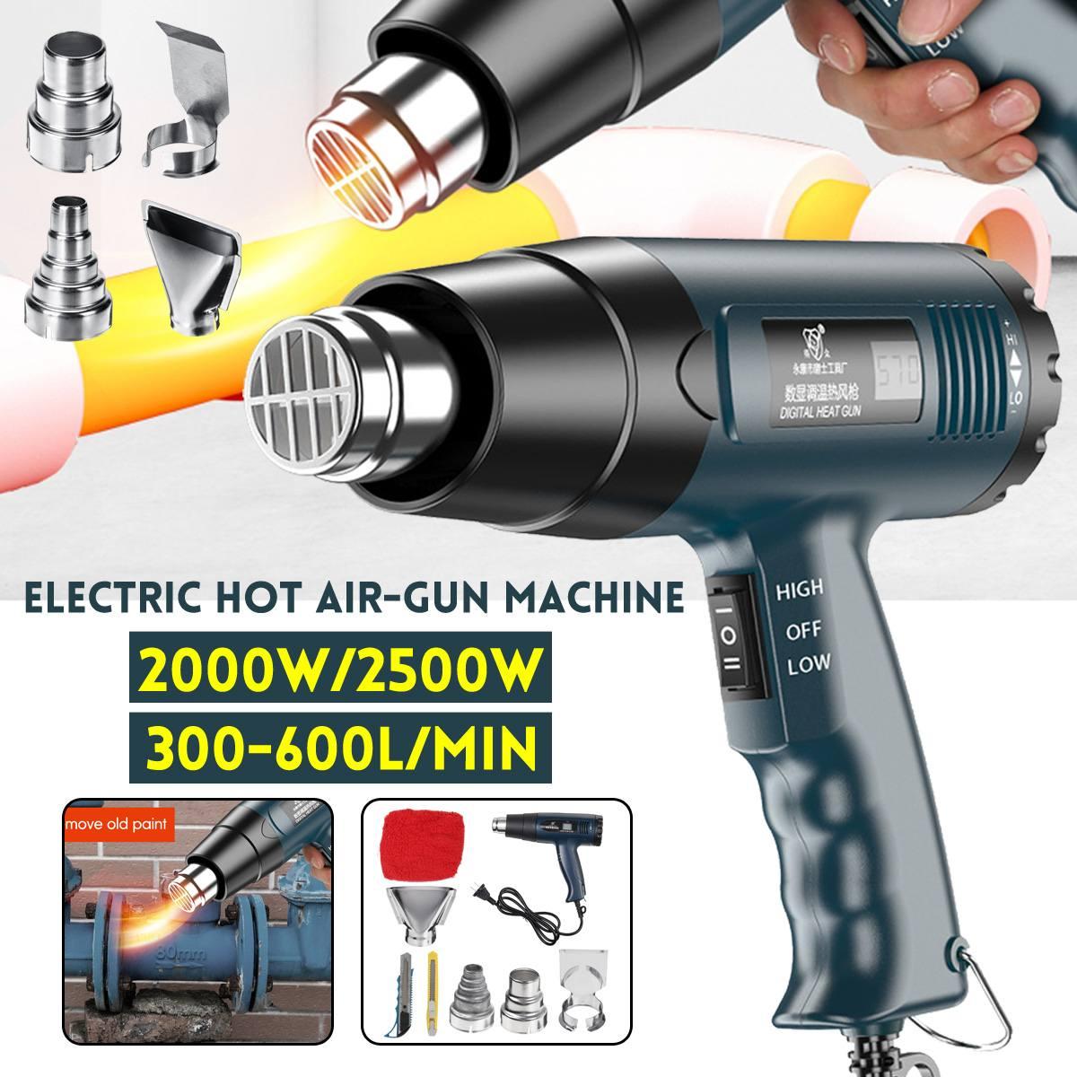Pistolas de aire caliente eléctricas digitales de 2500W y 220V ajustables sin escalonamiento, herramientas para soldar con secador de pelo para edificios